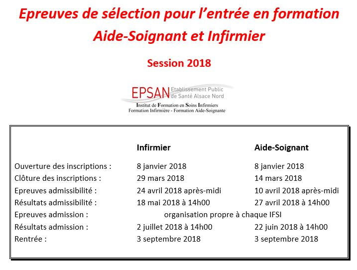 Calendrier concours 2018